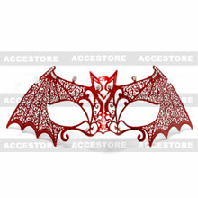 Bat Venetian Masquerade Mask with Silver Rhinestones - Red