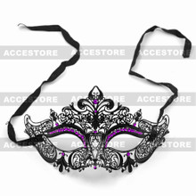 Party Queen Venetian Mask Sparkling Purple Rhinestone-Black