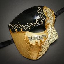 Phantom Of Opera Musical Masquerade Venetian Men Half Mask - Black Gold