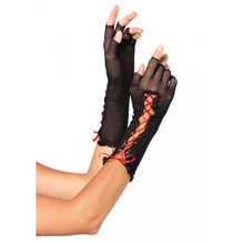 FISHNET FINGERLESS GLOVES - Black/Red - Image 1