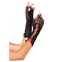 FISHNET FINGERLESS GLOVES - Black/Red - Image 2