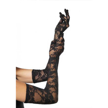 LACE ELBOW LENGTH GLOVES - Black - Image 2