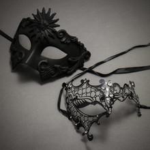 Black Full Face Greek Emperor and Black Silver Phantom Mask for Couple