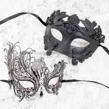 Black Full Face Roman and Black Silver Swan Mask for Couple