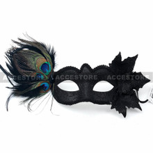 Side Feather Venetian Masquerade Party Costume Mask-Black - 2