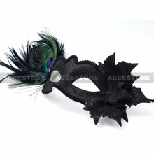 Side Feather Venetian Masquerade Party Costume Mask-Black - 4