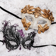 White Gold Cracked Full Face Roman and Black Purple Swan Mask for Couple