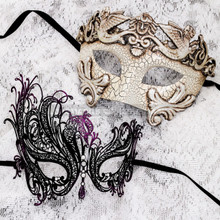 White Silver Cracked Full Face Roman and Black Purple Swan Mask for Couple