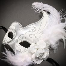 Masquerade Side Feather Glitter Venetian Costume Prom Mask-White