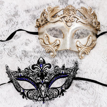 Silver Metallic Full Face Roman and Black Blue Princess Mask for Couple