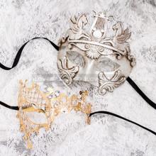 Silver Full Face Venetian Pegasus Horse and Gold Silver Phantom Mask for Couple