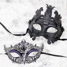 Black Full Face Venetian Pegasus Horse and Black Blue Princess Mask for Couple