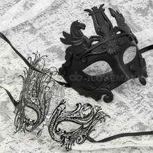 Black Full Face Venetian Pegasus Horse and Black Silver Swan Mask for Couple