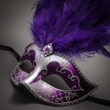 Venetian Glitter Crystal Masquerade Party Mask with Feather - Silver Purple