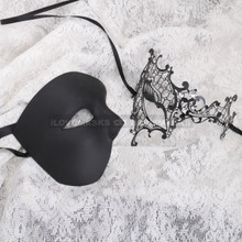 Black Half Face Phantom and Black Silver Phantom Mask for Couple