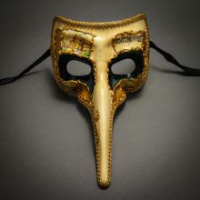Musical Venetian Mardi Gras Men Nose Mask-Beige Green