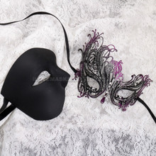 Black Half Face Phantom and Black Purple Swan Mask for Couple