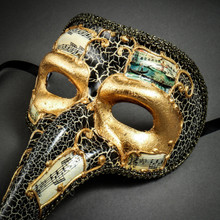 Musical Venetian Mardi Gras Men Long Nose Zanni Mask - Gold Black