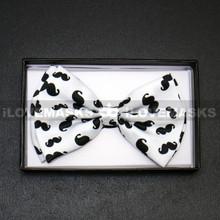 Bow Tie - Black Mustache / White