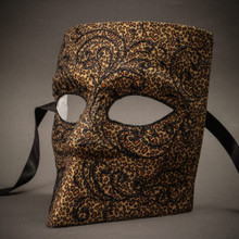 Bauta Mask With Black Glitter Venetian Mask-Gold Leopard