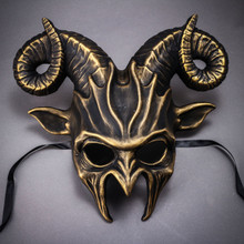 Krampus Ram Demon with Horns Devil Halloween Mask - Black Gold