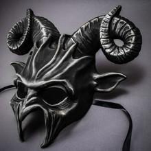 Krampus Ram Demon with Horns Devil Halloween Mask - Black Silver