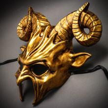 Krampus Ram Demon with Horns Devil Halloween Mask - Metallic Gold