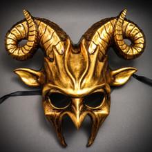 Krampus Ram Demon with Horns Devil Halloween Mask - Metallic Silver