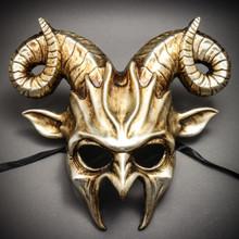 Krampus Halloween Metallic Devil Mask With Horns - Silver