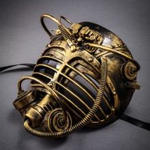 Steampunk Burning Man Gas Mask - Black Gold