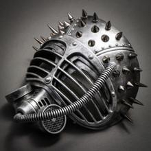 Metallic Steampunk Spike Gas Mask Full Face Masquerade Submarine - Silver - 2