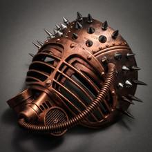 Metallic Steampunk Spike Gas Mask Full Face Masquerade Submarine - Copper - 2