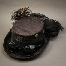 Steampunk Victorian Feather Top Hat - Black