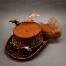 Steampunk Victorian Feather Top Hat - Brown