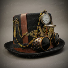 Steampunk Burning Man Top Hat - Black ( Right )
