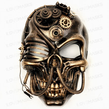 Skull Pirate Steampunk Full Face Mask - Black Gold (Front View)