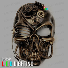 Skull Pirate Steampunk Full Face Mask - Black Gold