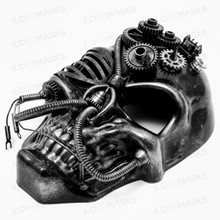 Skull Pirate Steampunk Full Face Mask - Black Silver (Side View)