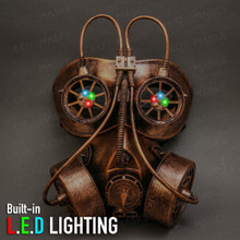 Goggles and Gas Mask Steampunk Half Face Mask - Copper