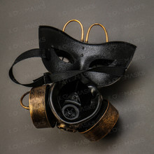 Goggles and Gas Mask Steampunk Half Face Mask - Gold - 4