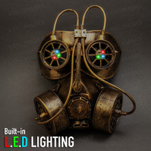 Goggles and Gas Mask Steampunk Half Face Mask - Gold