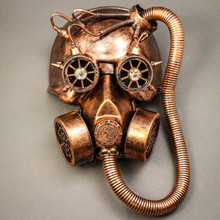 Skull Gas with Hose Mask Steampunk Full Face Mask - Copper - 1