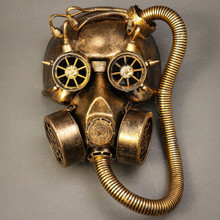 Skull Gas with Hose Mask Steampunk Full Face Mask - Gold - 1