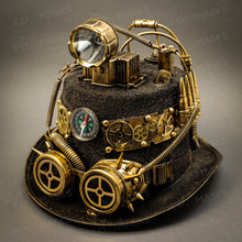 Steampunk Mad Scientist Time Traveler Top Hat with Light - Antique Gold
