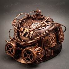 Steampunk Military Hard Hat with Goggles - Copper