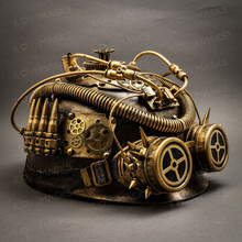 Steampunk Military Hard Hat with Goggle - Gold (Side View)