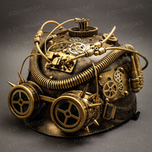 Steampunk Military Hard Hat with Goggle - Gold