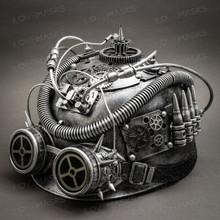 Steampunk Military Hard Hat with Goggle - Silver