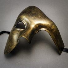 Phantom Venetian Masquerade Half Face Party Mask - Black Gold