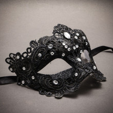 Lace Masquerade Mask Venetian Brocade Purple Crystals - Black